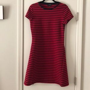 Red and navy stripe dress